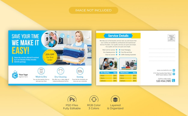 Laundry & dry cleaning services foreclosure eddm postcard template