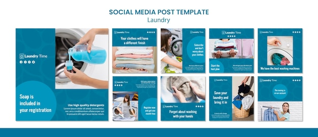 Laundry service social media post template