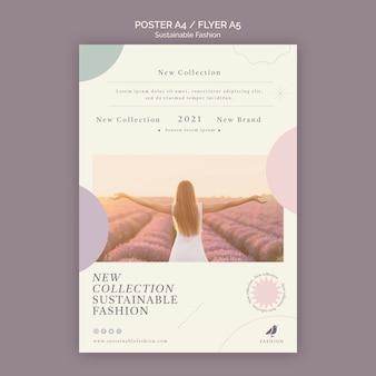 라벤더 밭 지속 가능한 패션 포스터 인쇄 템플릿