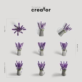 春のシーン作成者の花瓶ビューのラベンダー