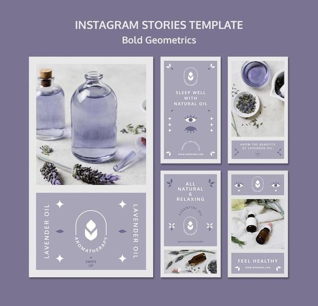 Шаблон историй instagram с лавандовым маслом