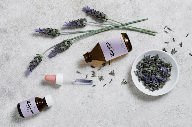 Lavender serum on table
