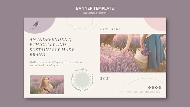 Lavender sustainable fashion banner template