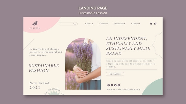 Lavender sustainable fashion landing page template