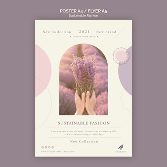Lavender sustainable fashion poster print template