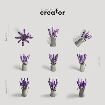 Lavender in vase view of spring scene creator
