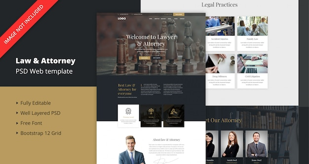 Law, lawyer and attorney website template