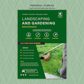 Lawn care concept flyer template