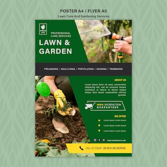 Lawn care concept poster template