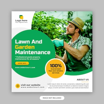Lawn and garden maintenance social media post and web banner design template