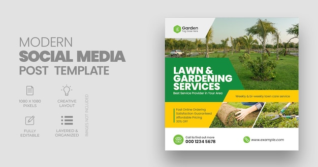 Lawn mower social media post banner template