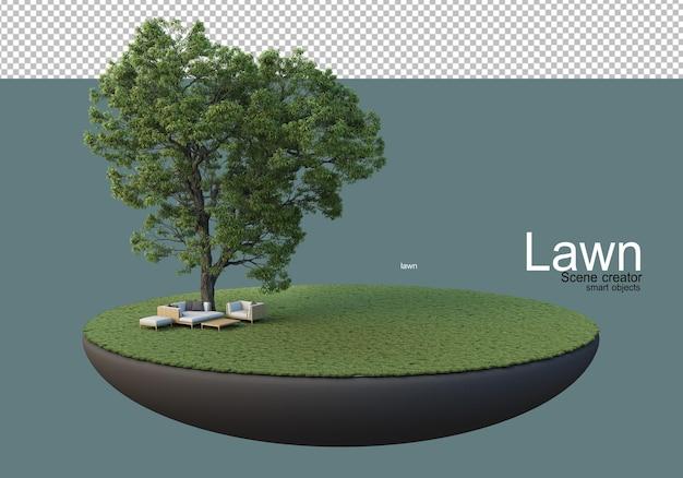 큰 나무와 가구 세트가 있는 잔디