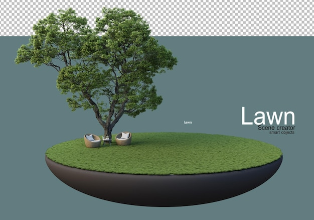 Lawn with big trees and furniture sets