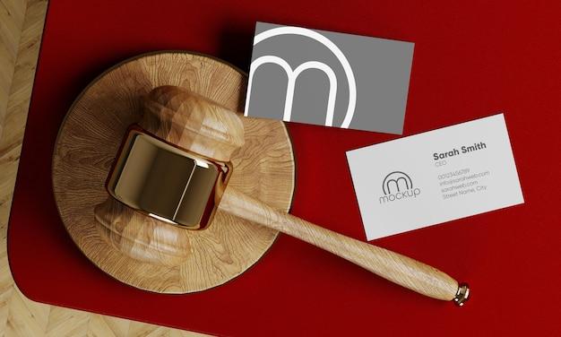 Lawyer judge business card mockup gavel