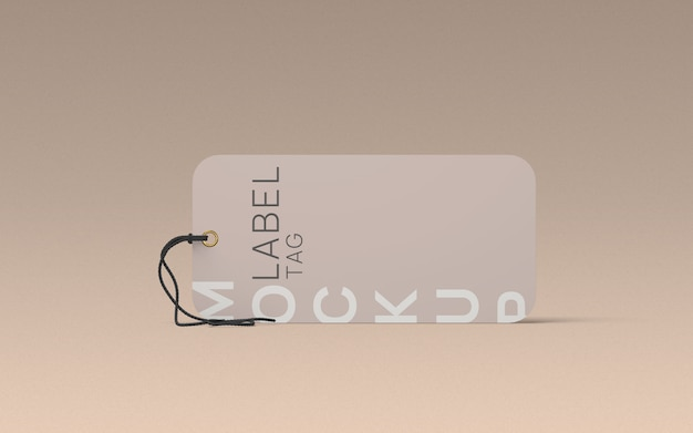 Laydown clothes label tag mockup front view