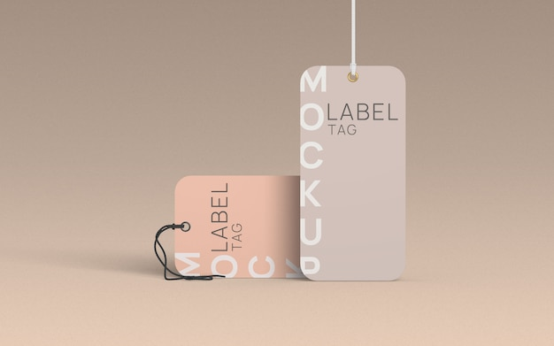 Laydown and standing clothes label tag mockup