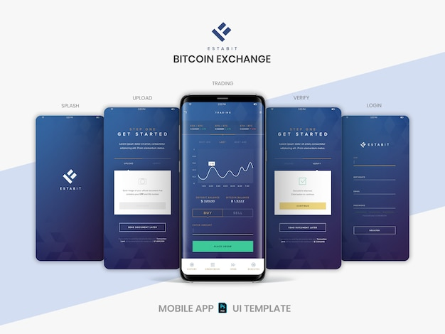 Layered psd mobile app screens layout template for cryptocurrency trading, buy and sell bitcoin service.