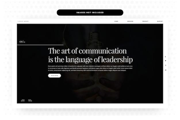 Лидерство корпоративная целевая страница, дизайн сайта hero slider