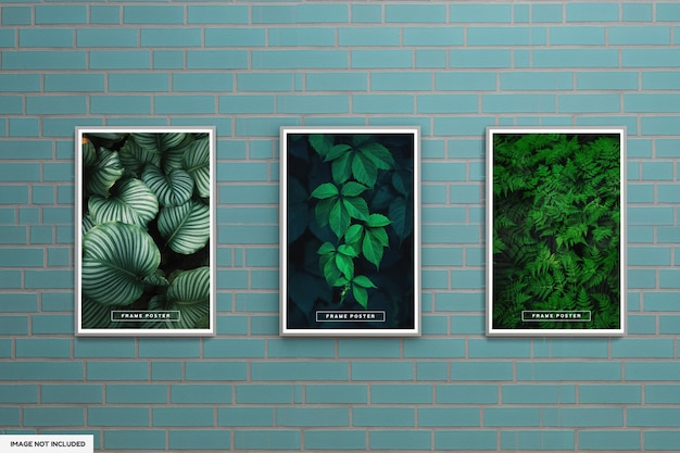Leaf frame poster mockup with green wall