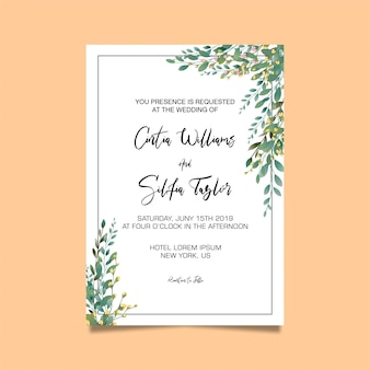 Leaf frame wedding invitation template