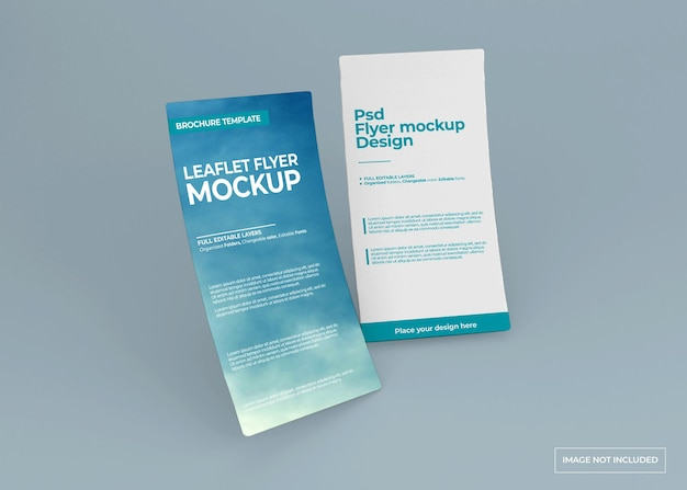 Leaflet flyer mockup design isolated