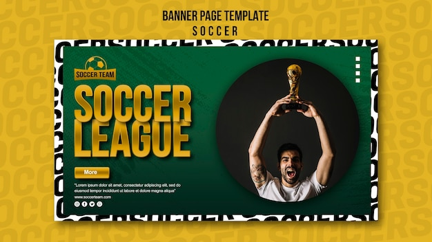 League and school of soccer banner template