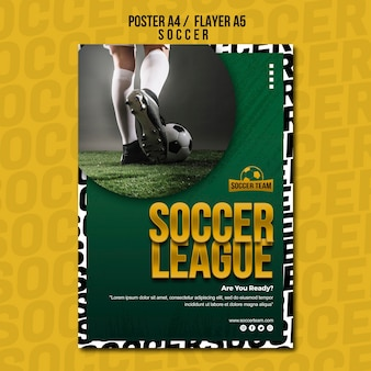 League school of soccer poster template