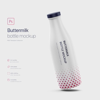 Leaning buttermilk bottle mockup