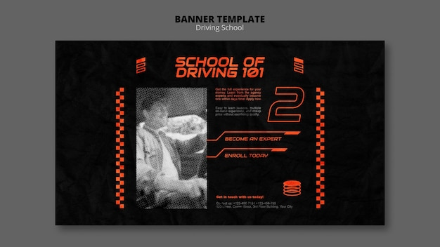 Learn to drive horizontal banner template