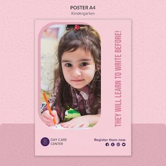 Узнайте, как белый плакат детский сад шаблон