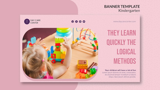 Learn quickly kindergarten banner template