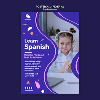 Learn spanish flyer template