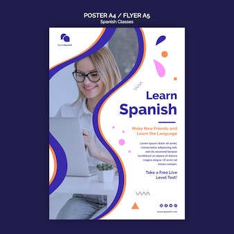 Learn spanish poster template