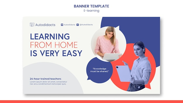 Learning from home banner template