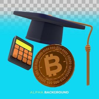 暗号通貨の使い方を学ぶ。 3dイラスト