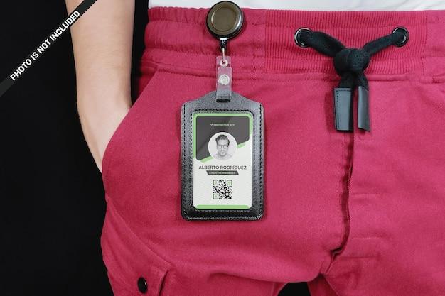 Leather card holder hanging on the man's belt