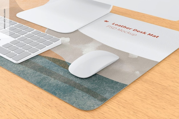 Mockup di tappetino da scrivania in pelle