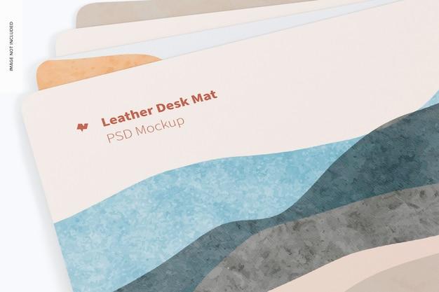 Leather desk mats mockup, close up