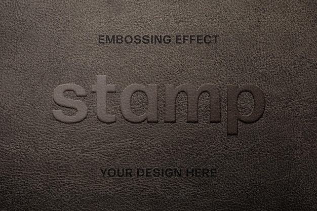 Leather embossing text effect template
