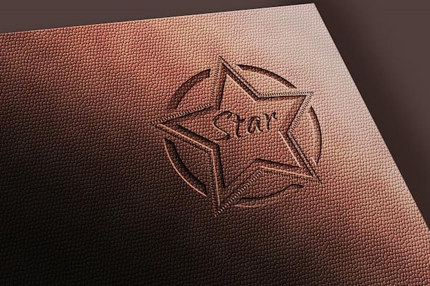 Leather engraves logo mockup