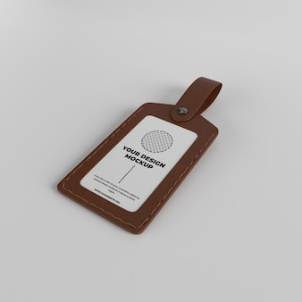 Leather id card member holder case badge mockup