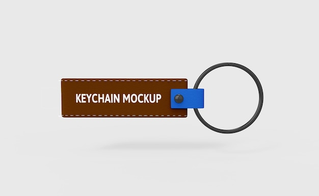 Leather keychain mockup