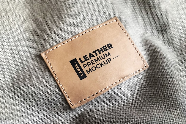 Кожаный этикетка мокап реалистичный коричневый черный