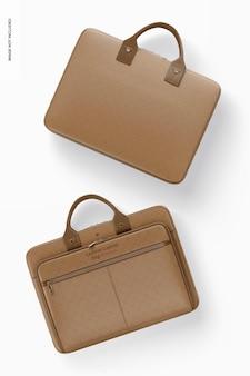 革のラップトップバッグのモックアップ、上面図