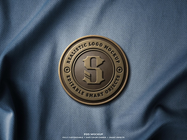 Leather logo badge or patch mockup on jersey fabric