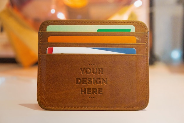 Leather press wallet mockup