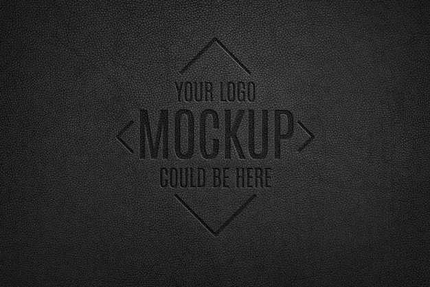 Leather pressed logo mockup
