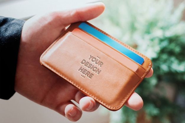 Leather pressed wallet mockup
