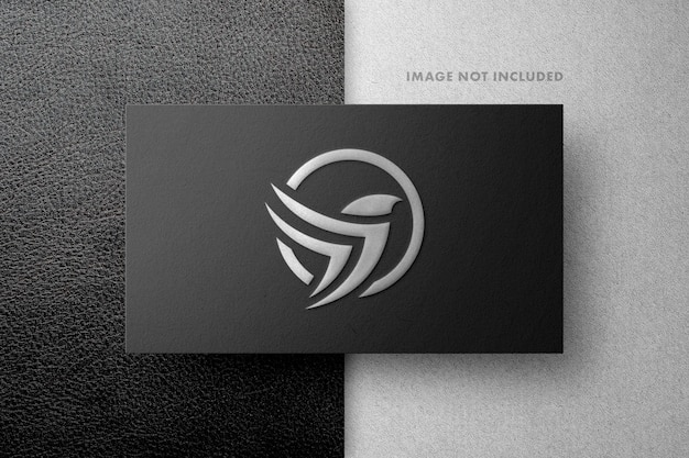 Leather and silver logo mockup
