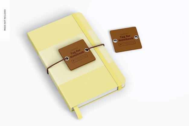 Etichetta in pelle per mockup di notebook